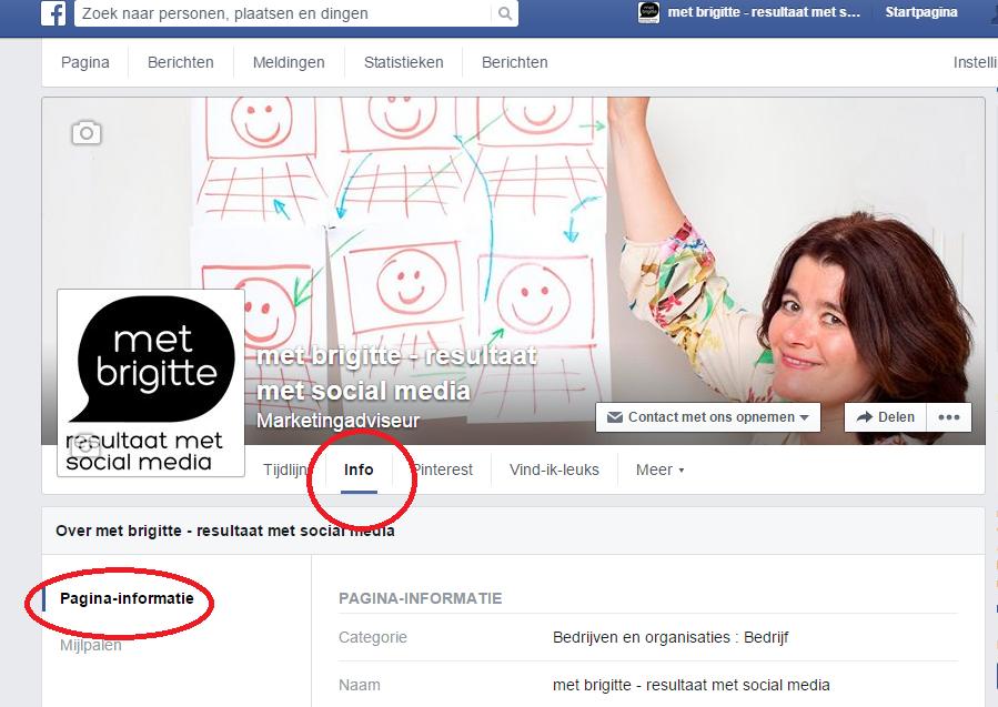Facebookpagina met brigitte resultaat met soicial media